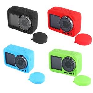 Image 1 - 2 で 1 osmoアクションカメラシリコンケース + レンズキャップ保護カバー防塵アンチスクラッチ用dji osmo acitonカメラ