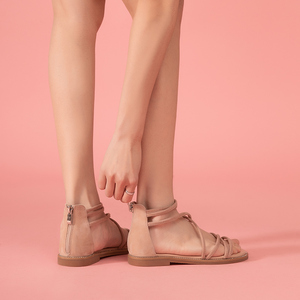Image 3 - BeauToday שטוח סנדלי נשים ילד זמש עור רוכסן סגירת צלב קשור כיסוי העקב גבירותיי קיץ חוף נעלי 33008