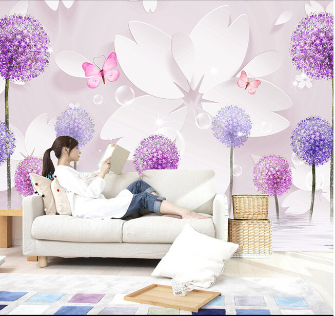 Custom 3D wallpaper, romantic dandelion and floral murals for the living room bedroom TV background wall vinyl papel de pared 3d stereoscopic large mural custom wallpaper the living room backdrop bedroom fabric wall paper murals fashion romantic roses