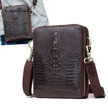 Men's Genuine Leather messenger bag Vintage Shoulder Bags Crocodile Crossbody Bags for men with Mobile Phone Pouch Waist Bag