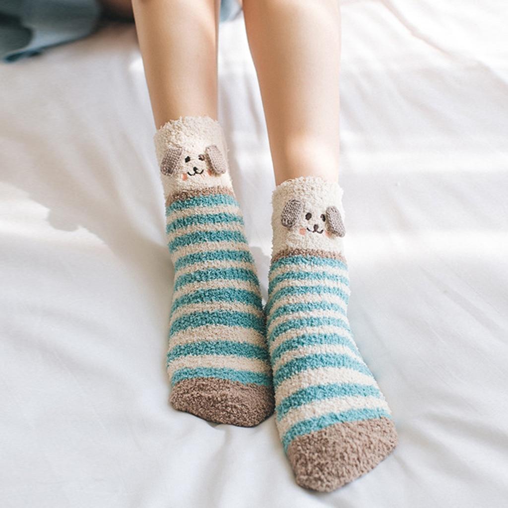 Frauen 3d Hund Druck Kawaii Korallen Fleece Häkeln Socken Kausalen Streifen Winter Warme Beinlinge Weibliche #