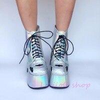 Милые туфли принцессы в стиле панк; loliloli yoyo; японский дизайн; большие размеры; Серебристые ботинки на высоком каблуке со шнуровкой; an7440