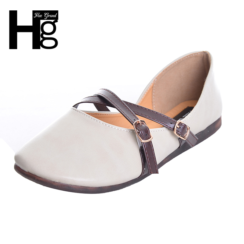 HEE GRAND 2017 Autumn Buckle Flats Women Soft Sole Shoes PU Leather Ladies Casual Daily Woman Flats XWD5902