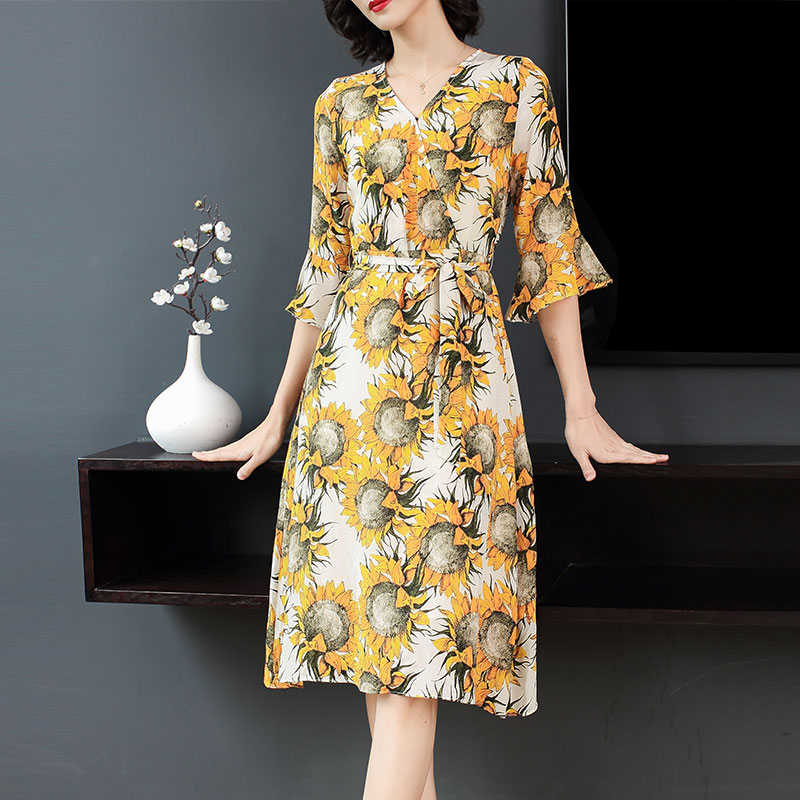 Chinese Yellow plus size summer mulberry silk dress 2019 boho women print floral elegant vintage runway bodycon slim mid clothes