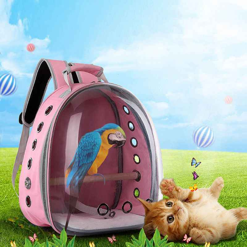 THINKTHENDO Pet Parrot Carrier Bird Travel Bag Space Capsule Transparent Backpack Breathable 360 Sightseeing