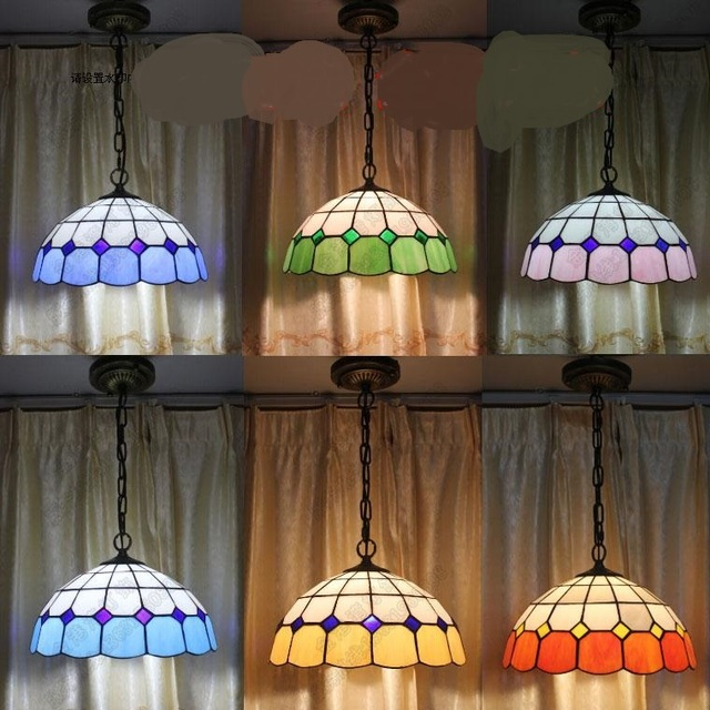 Mediterranean Restaurant Pendant Light European Dining Room Entrance Cafe Single Head Tiffany Color Garden Lamp