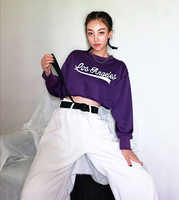 Women 2018 New Purple long sleeve los angeles letter print dapper crop hoodies cropped sweatshirt playful fantasy deamy