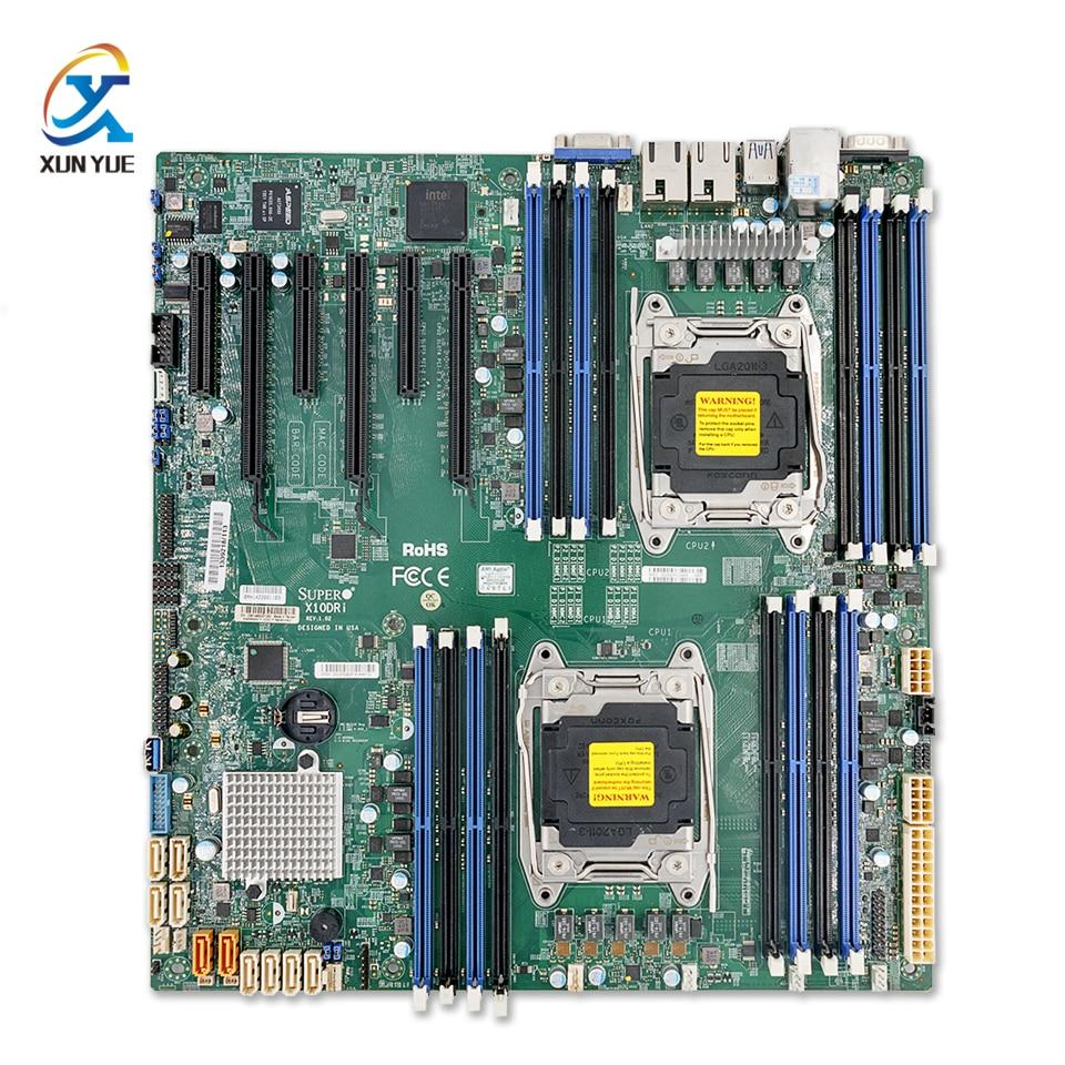 For Supermicro X10DRI Original Used Server/Desktop Motherboard Dual CPU C612 Socket R LGA 2011-3 DDR4 ECC E5-2600 V3 V4 original server board z9pa d8 double cpu c602 chip 2011 pins