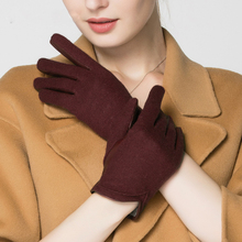 Touchscreen Gloves Female Winter Leather Sheepskin Wool Driving Knitted Warm Thicken Womans TU3612