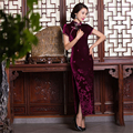 New Spring Summer Style Long Chinese Traditional Nature Velvet Charming Qipao Chinese Women's Evening Dress Cheongsam