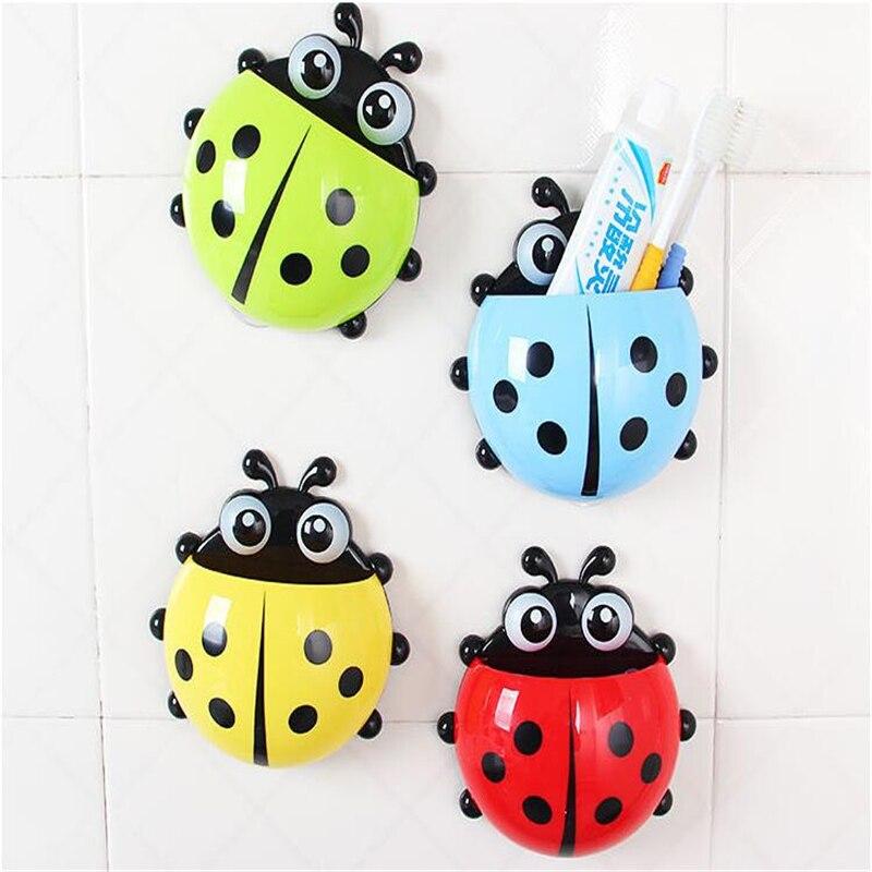 Hasznos aranyos katicabogár rovar fogkefe falszívó fürdőszobakészletek Cartoon Sucker fogkefe tartó / szívóhorogok 4 szín D0197