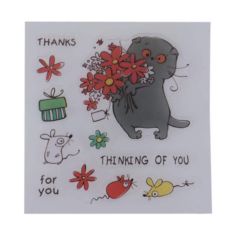 Colorful Cartoon Animal Flower Transparent Clear Stamp DIY Silicone Seals Scrapbooking Handbook Making Photo Album