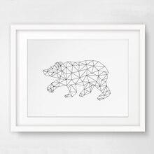 Bear Print Wall Art Canvas Poste, Morden Geometric Art, Nursery Kids Room Decor, Frame Not included