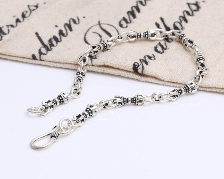 Argent sterling S925 goutte magique crâne chaîne classique rétro Thai argent hommes dames bracelet S126