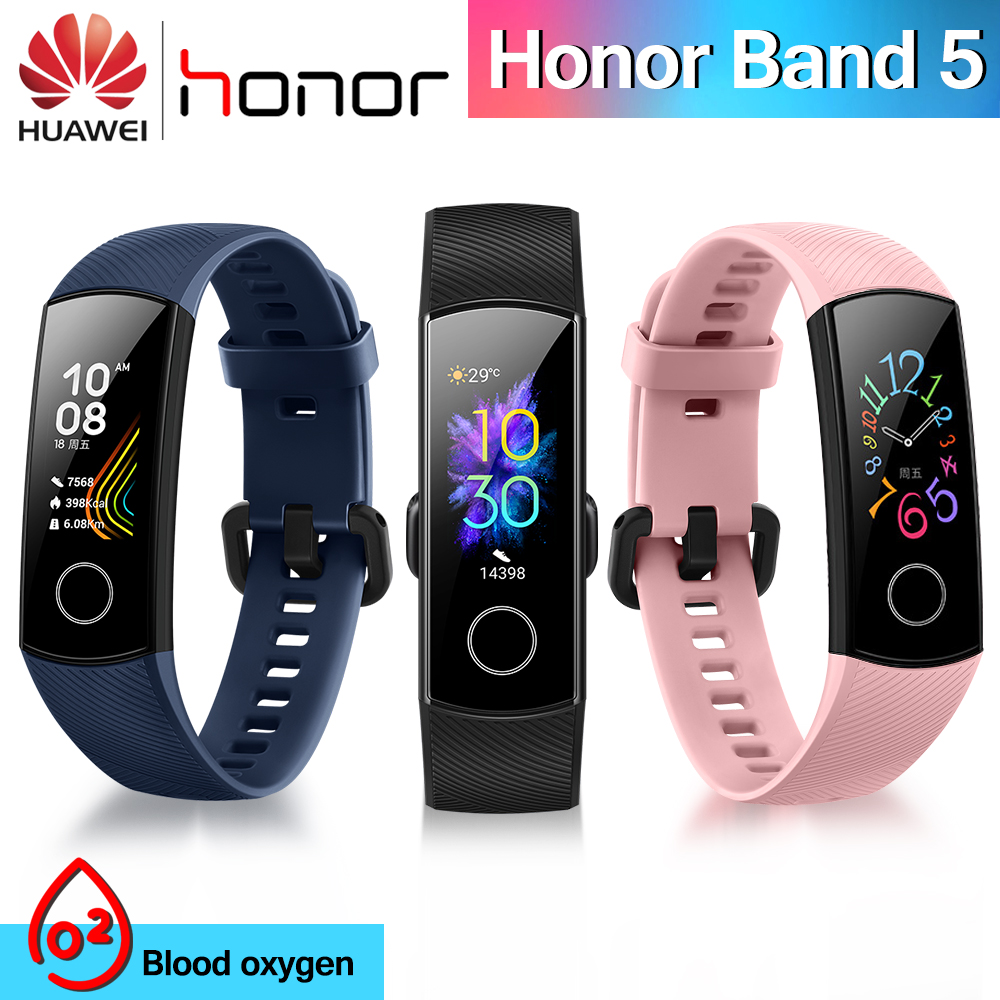 Original Huawei Honor Band 5 Smart Wristband Oximeter Touch OLED Screen Swim Bluetooth Fitness Sleep Nap Honor Band5