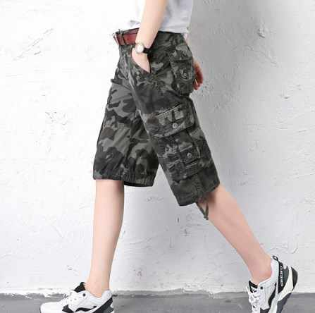 6fd6e463a2 woman Plus Size Summer Casual Camouflage Shorts For Women Cotton Loose Cargo  Shorts Knee Length Camo