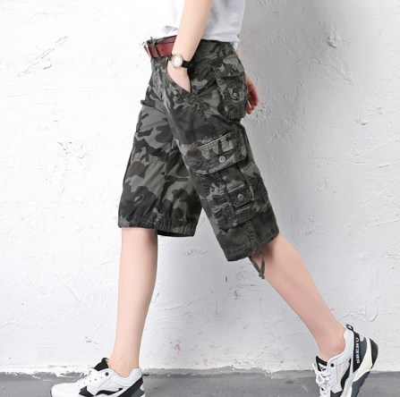 aba186f8a1 woman Plus Size Summer Casual Camouflage Shorts For Women Cotton Loose Cargo  Shorts Knee Length Camo Short Pants Multi Pockets