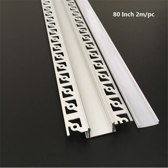 5 30pcs/lot 2m 80inch led linear striip housing plaster board embedded led aluminium profile ,double row 20mm tape light channel
