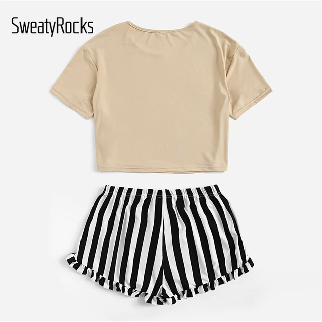 Letter Print Tee And Striped Ruffle Shorts 4