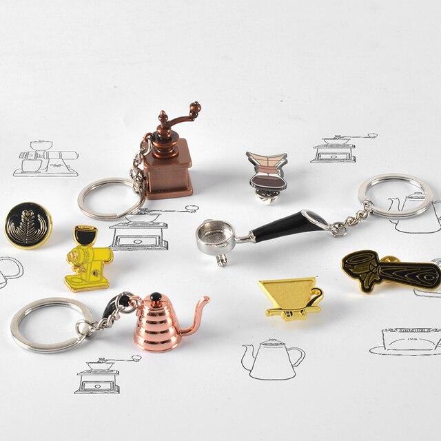 Pareja de accesorios Espresso llaveros Mini molinillo Tamper café francés Pot llavero café regalo para café llavero para enamorados