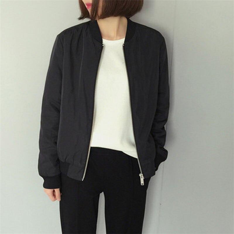2017 Autumn Baseball Jacket Spliced Plus Size Leisure Women Round Collar Zipper Slim parka Jacket Long Sleeves Warm Coat in Parkas from Women 39 s Clothing