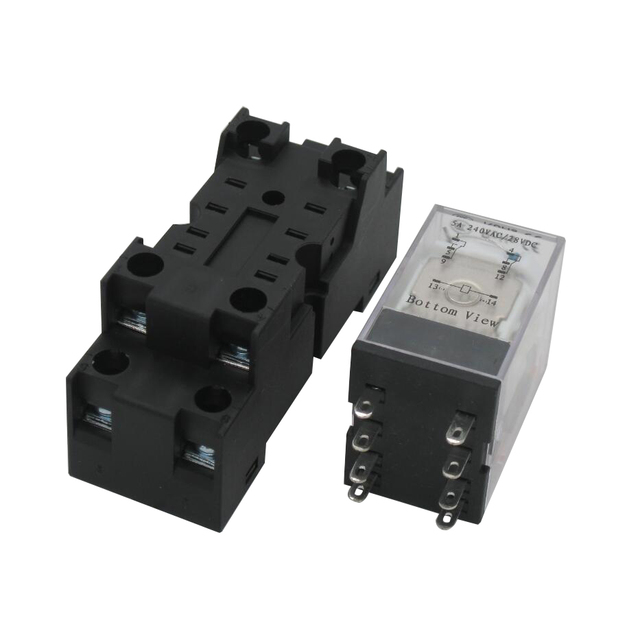 US $4.38 6% OFF| Taiss/AC 12V Coil Electromagnetic Power Relay 5A 2DPT on