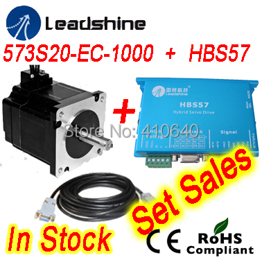 FREE SHIPPING  Leadshine Hybrid Servo Motor 573S20-EC equal to 573HBM20 and HBS57 HBS507 drive 50VDC 8.0A and cable nema23 3phase closed loop motor hybrid servo drive hbs507 leadshine 18 50vdc new original