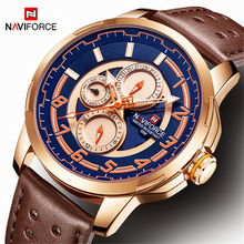 NAVIFORCE Horloges Mannen Luxe Merk Waterdicht Mannen Horloge Casual Lederen Rose Goud Mode Quartz Klok Man Relogio Masculino