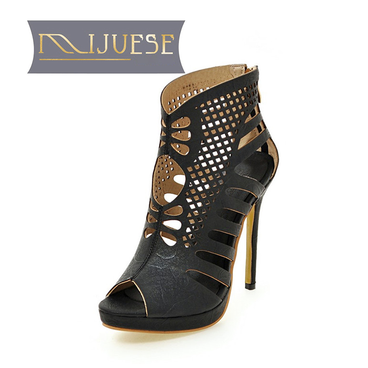 MLJUESE 2018 women sandals summer style zippers Black color  Gladiator platform high heels women size 34 43-in High Heels from Shoes    1
