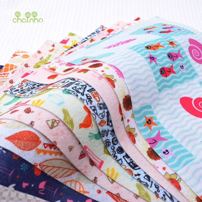 Print NonWoven Felt Fabric Thickness Polyester Soft Felt Of Home Decoration Pattern Bundle For Sewing Dolls Crafts 8pcs 19x28cm