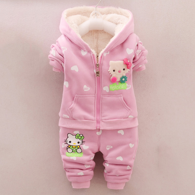 Toddler Girls Hello Kitty Clothes Set Winter Thick Warm Clothes Plus velvet Coat + Pants Rabbi Kids Infant Sport Suits W133