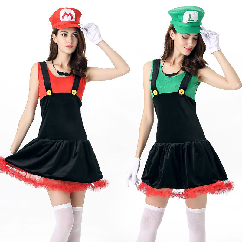 2018 Halloween Women's Costume Super Mario Lady's Female Cosplay Skirt Moustache Hat Adults Anime Cosplay Nightclub Sexy Clothes