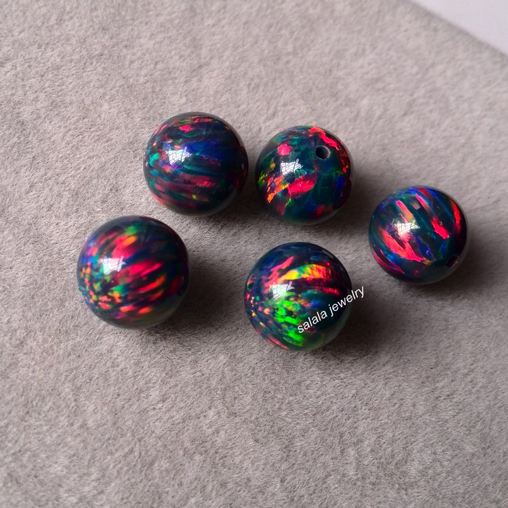 50pcs lot OP33 Black Opal 8mm Round Opal Full Drilled Synthetic Round Opal Beads Loose Opal