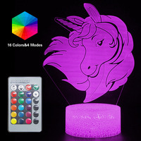 Remote 3D Nightlight Baby Unicorn Night Light 16 Color Cute LED RGB Table Lamp Child Birthday Holiday Girl Friend Kawaii Gift