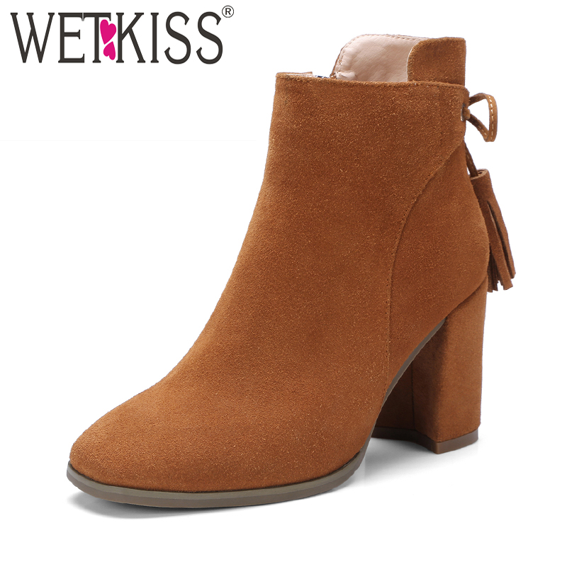 WETKISS Genuine Leather Suede Ankle Boots Tassel Shoes Women Designers Zip Women's Winter Boots Autumn Square High Heels Shoes wetkiss genuine leather cool motorcycle boots women street buckle strap rivets zip female boots low heels autumn winter boots