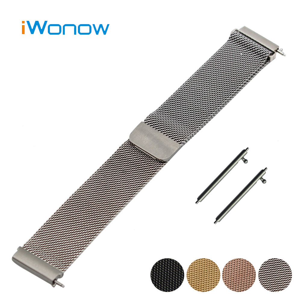 21mm 22mm quick release silicone rubber watchband universal watch band wrist strap stainless steel buckle belt bracelet black Milanese Stainless Steel Watchband 18mm for Huawei Watch Magnet Buckle Strap Quick Release Band Wrist Belt Bracelet + Spring Bar