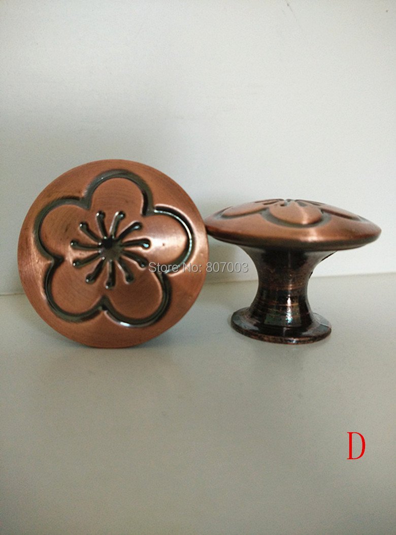diameter 30mm 50pcslot antique copper knob pull handle kitchen cabinet hardware free shipping - Copper Kitchen Cabinet Hardware