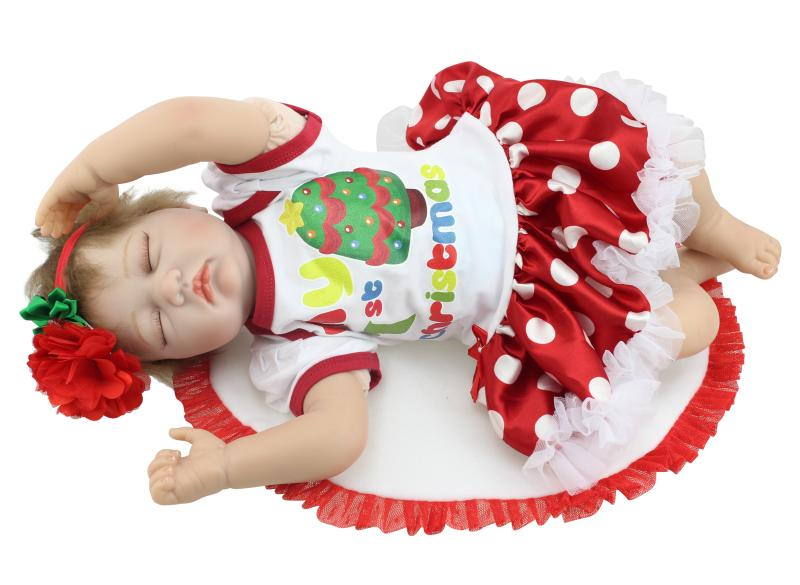 Silicone reborn baby dolls sleeping baby doll handmade lifelike fashionable baby birthday gift brinquedos with clothes for child short curl hair lifelike reborn toddler dolls with 20inch baby doll clothes hot welcome lifelike baby dolls for children as gift