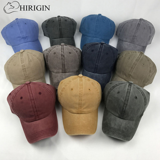 HIRIGIN Solid Distressed Vintage Cotton Polo Style Baseball Ball Cap Hat  100% Cotton NEW Casquette ade8010a681