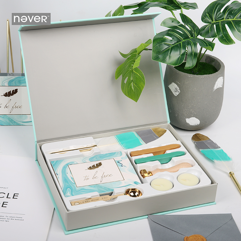 Never Light Blue Stationery Set Wax Seal Sets Card Envelopes  Feather Pens Kit Gift Stationery Sets School And Office Supplies always fresh seal vac