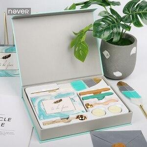 Image 1 - Nooit Lichtblauw Briefpapier Set Lakzegel Sets Kaart Enveloppen Veer Pennen Kit Gift Briefpapier Sets School En Kantoorbenodigdheden