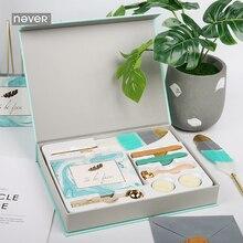 Set de papelería nunca azul claro, juegos de sellos de cera, sobres de tarjetas, bolígrafos de plumas, Kit de regalo, papelería, suministros escolares y de oficina