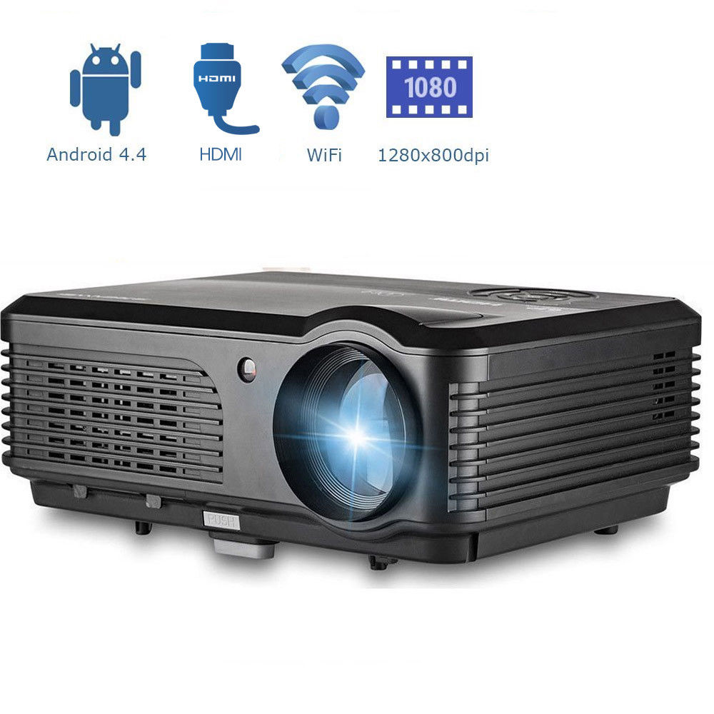 CAIWEI LCD LED Projector Android WiFi Home Theater Projector 1080P Wireless Onli