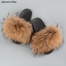 Jancoco MAX 2017 реальная енота Мех Шлёпанцы для женщин Для женщин Мода Стиль Весна-осень-зима indoor Сланцы без каблука Направляющие S60 GLOve20
