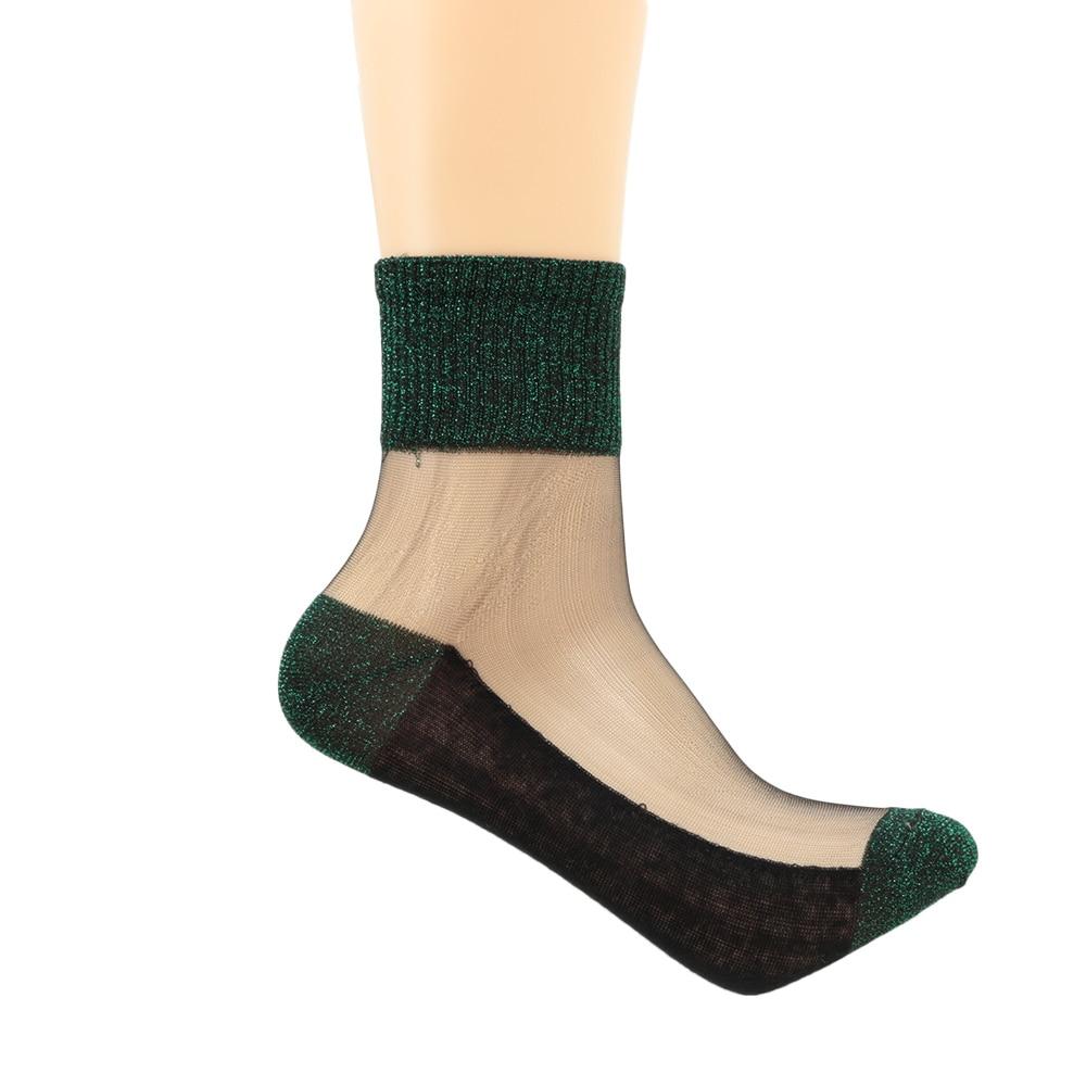 Ankle Socks 2019 Summer Women Ultrathin Transparent Glitter Thin Crystal Glass Silk Beautiful Lace Shiny Elastic Short Socks