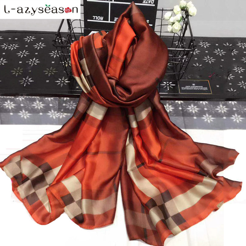 L-azyseason Fashion Plaid Silk Scarf Luxury Women Brand bandana Scarves for Women Shawl High Quality hijab wrap 70.87X35.43 INCH