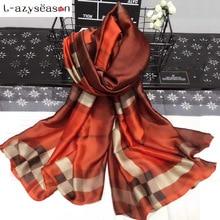 L-azyseason 2019 Fashion Plaid Silk Scarf Luxury Women Brand Scarves for Women Shawl High Quality hijab wrap Female foulard
