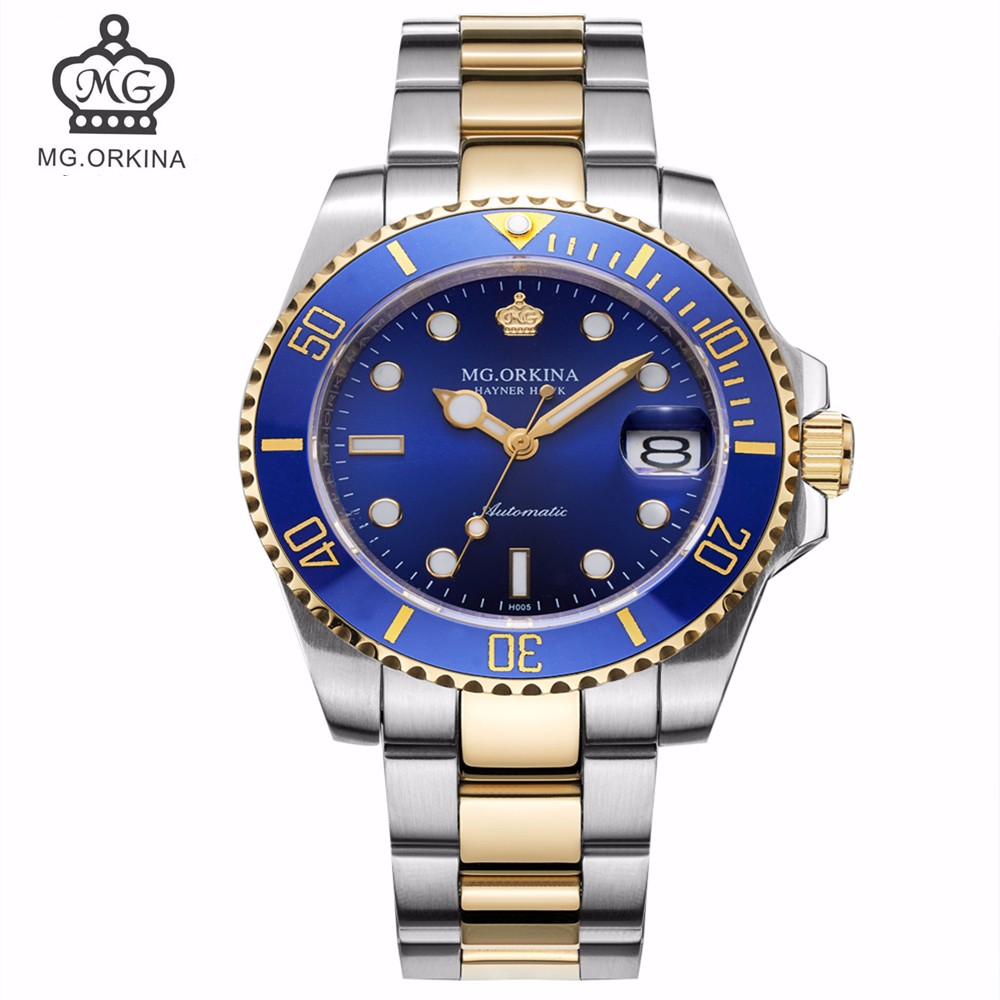 MG ORKINA Men's Luxury Mechanical Watch with Waterproof & Calendar Ceramic Bezel Top Automatic Watches Famous Brand Men Clock все цены