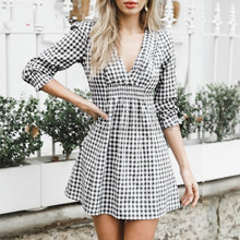 CUERLY Autumn summer Short Vintage Dress White Black Plaid V Neck Women Elegant Party Street Fashion