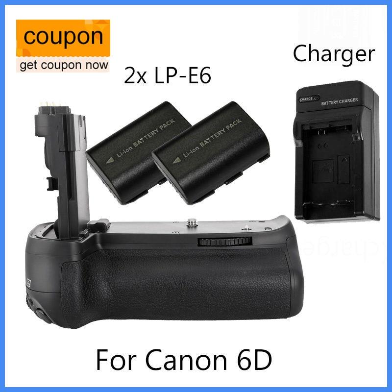 Meike MK Vertical MK-6D BG-E13 Battery Grip for Canon EOS 6D +2x LP-E6 +Charger